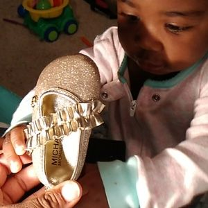 Gold glittery Michael Kors infant shoes
